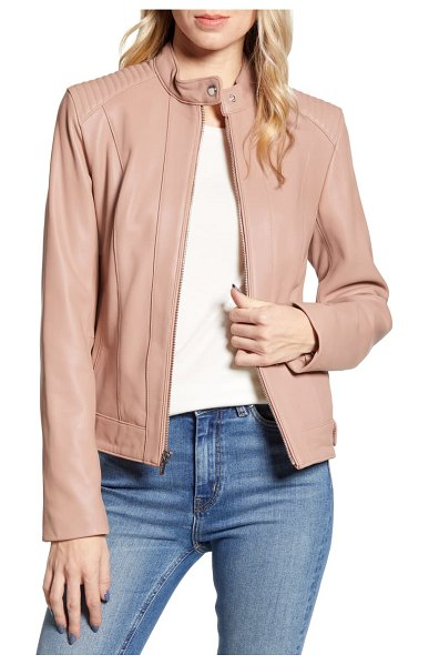 COLE HAAN SIGNATURE cole haan leather moto jacket in beige