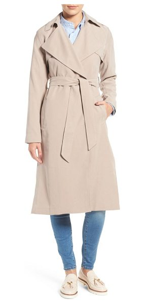 COLE HAAN SIGNATURE long drapey trench coat in sand - Iconic trench styling takes a turn for the feminine in a...