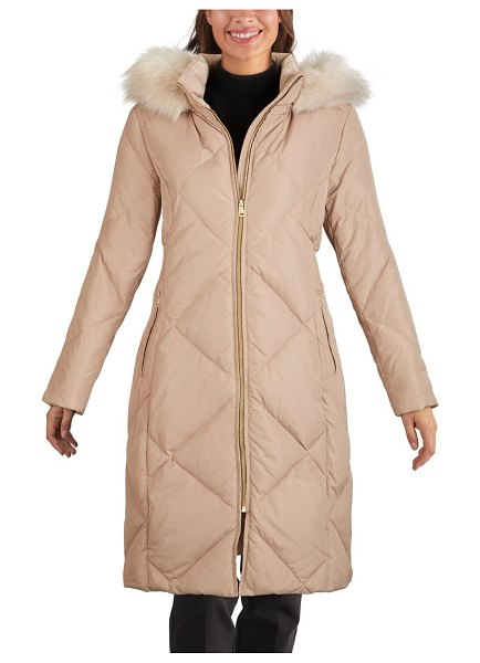 COLE HAAN SIGNATURE water resistant parka with faux fur trim in beige