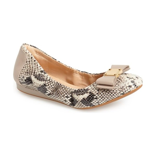Cole Haan 'tali' bow ballet flat in natural roccia snake print - A sleek bow accented with logo-embossed goldtone...