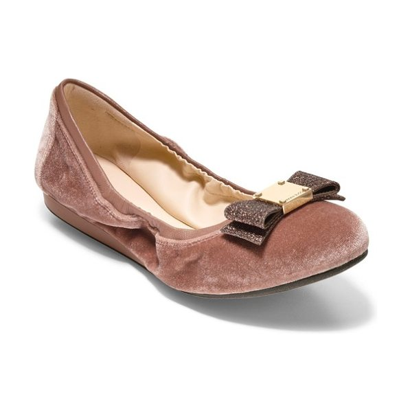 Cole Haan 'tali' bow ballet flat in nude velvet - A sleek bow accented with logo-embossed goldtone...