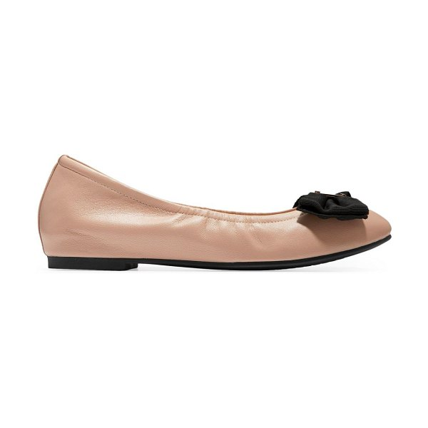 Cole Haan tali soft bow leather ballet flats in nude