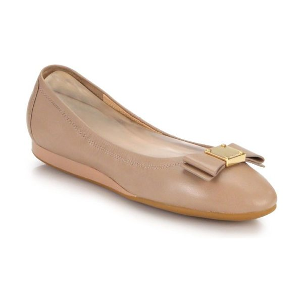 Cole Haan tali bow leather flats in beige - Must-have, polished leather flats, punctuated with...