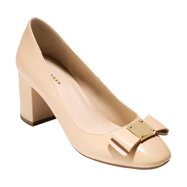 Cole Haan tali bow pump in nude leather - Gilded, logo-embossed hardware accentuates the...