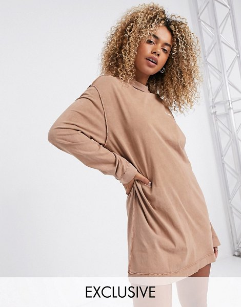 Collusion acid wash t shirt dress with exposed seams in tan-brown in brown