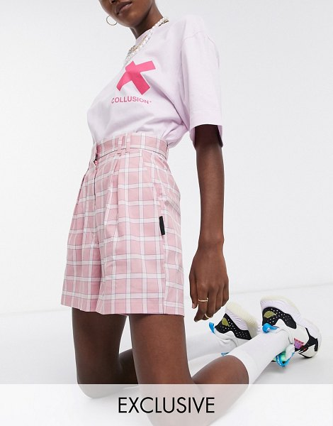 Collusion high waist shorts in pink check in pink