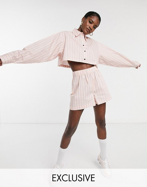 Collusion high waist stripe shorts-pink in pink