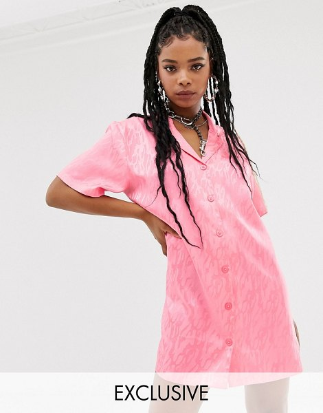 Collusion jacquard shirt dress in pink