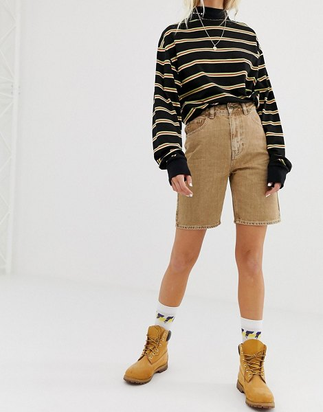 Collusion long line denim shorts in sand-beige in beige