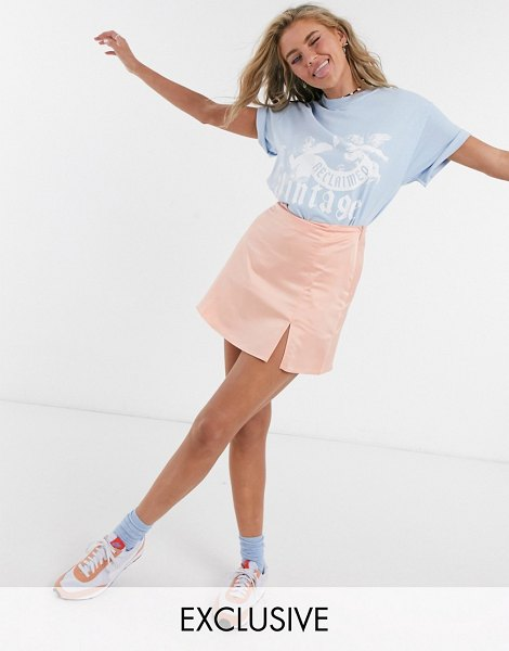 Collusion mini skirt with split in peach-pink in pink