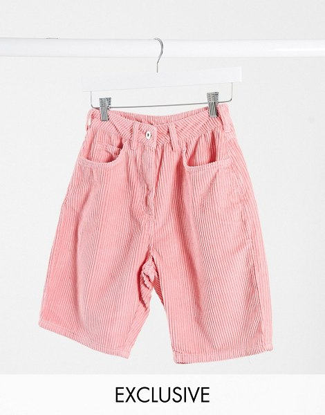 Collusion mom shorts in pink cord in pink