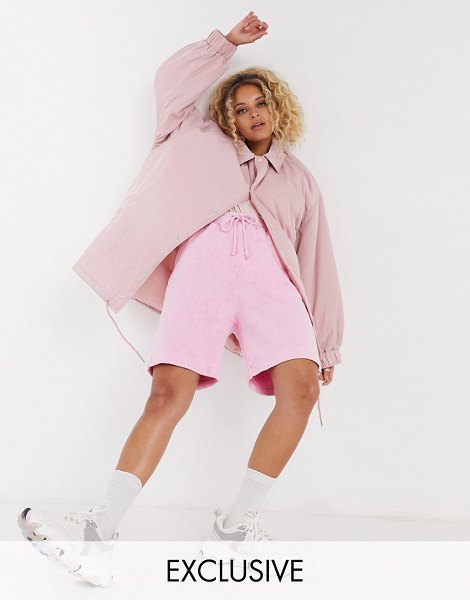 Collusion oversized coach jacket in pink in pink