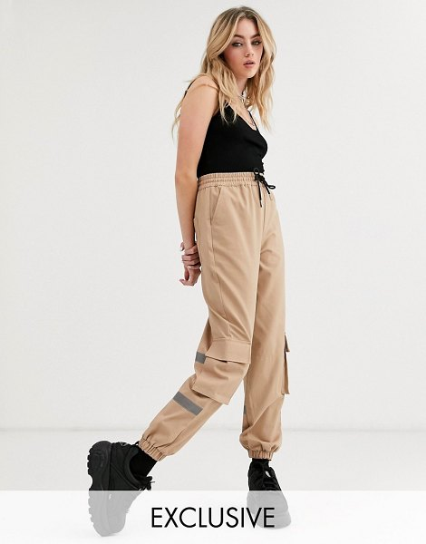 Collusion pants with relfective panel-brown in brown