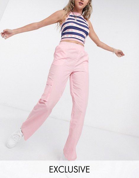 Collusion relaxed pants in pale pink in pink