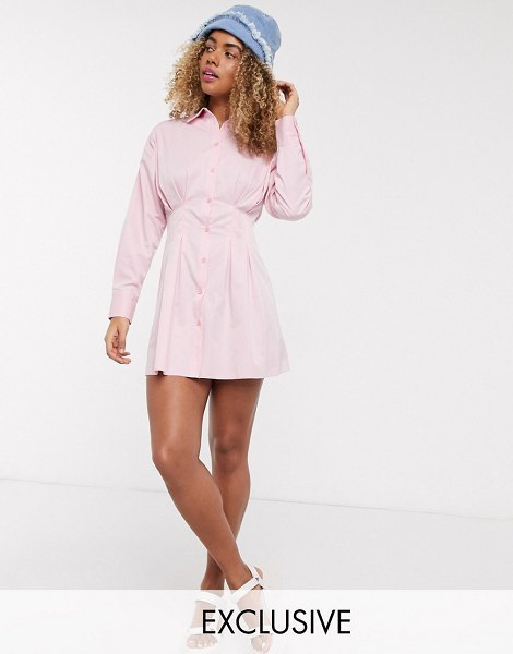 Collusion ruched mini long sleeve shirt dress in pink in pink