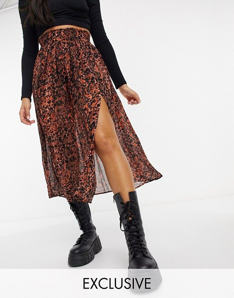 Collusion sheer pleated midi skirt with slit in snake print-brown in brown