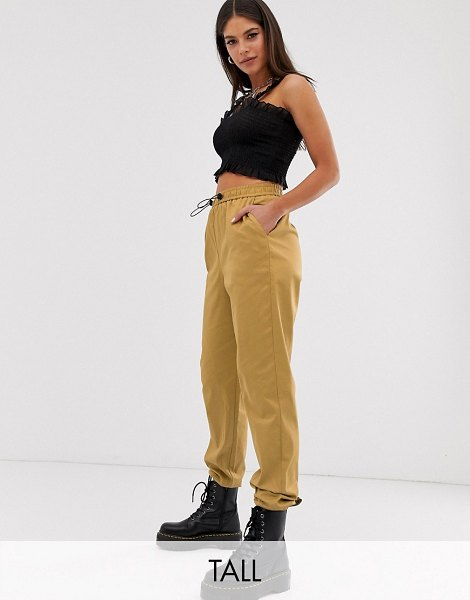 Collusion tall cuffed cargo pants-beige in beige