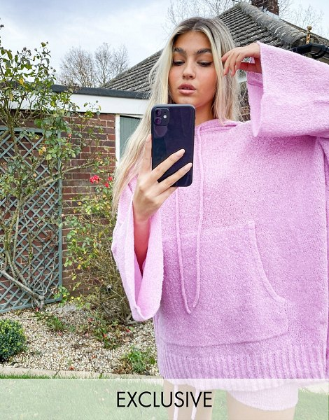 Collusion textured knitted hoodie in pink in pink