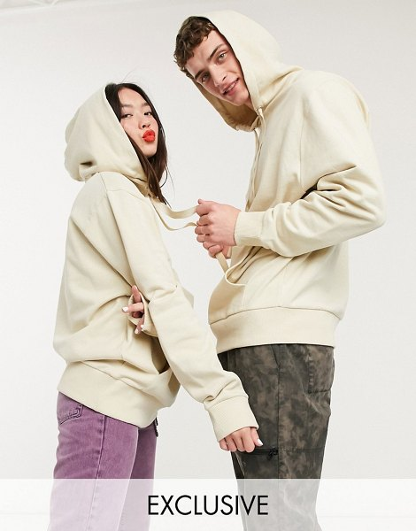 Collusion unisex hoodie in stone-neutral in neutral