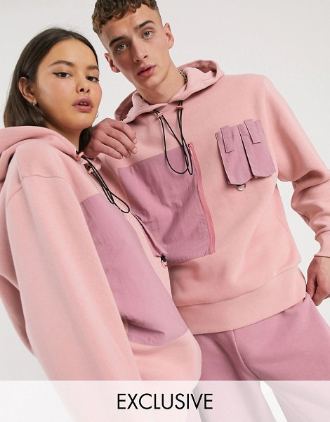 Collusion unisex hoodie with nylon pockets-pink in pink