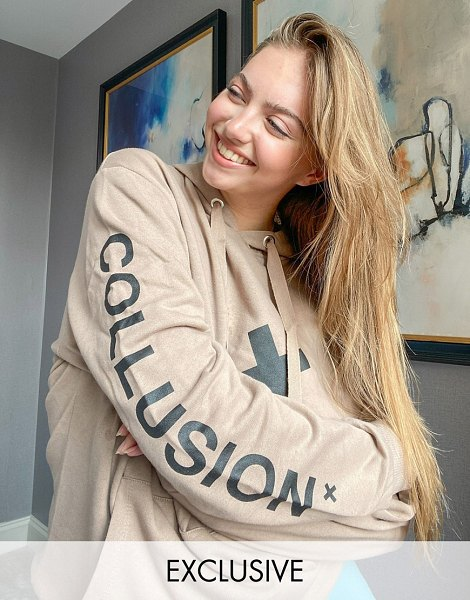 Collusion unisex logo hoodie in brown in brown