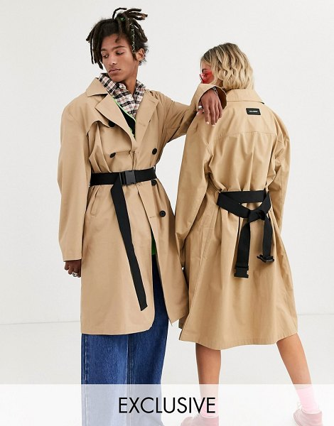 Collusion unisex trench coat with belt-brown in brown