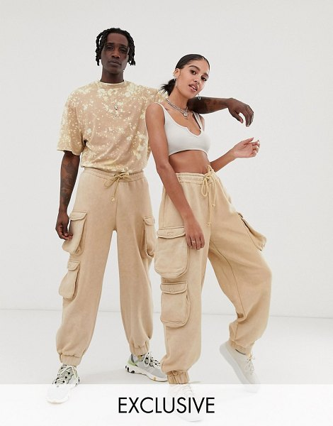 Collusion unisex utility sweatpants in washed stone in stone