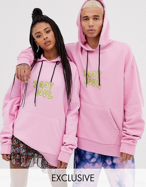 Collusion unisex washed hoodie with print in pink in pink