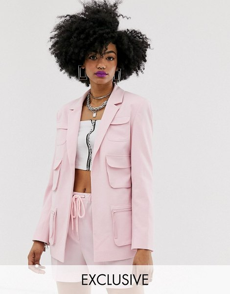 Collusion utility blazer in pink