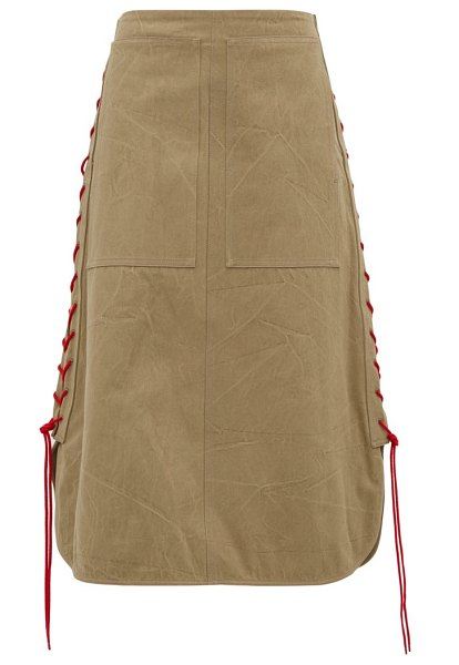 COLVILLE lace-up cotton-twill midi skirt in beige