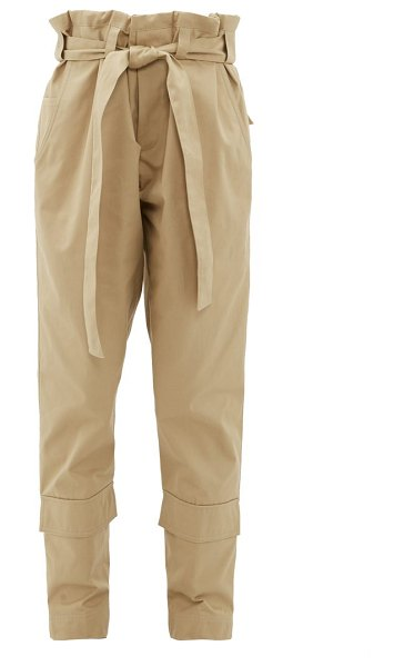 COLVILLE paperbag waist belted cotton twill trousers in beige