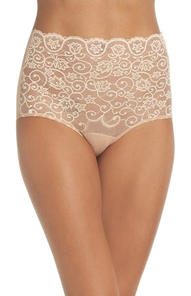 COMMANDO 'double take' lace front high rise panties - Gorgeous embroidered lace romances the front of smooth...