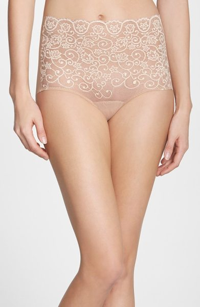 Commando 'double take' lace front high rise panties in ivory/ beige