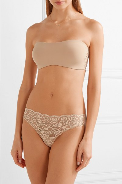 Commando double take lace-paneled stretch bandeau bra in sand
