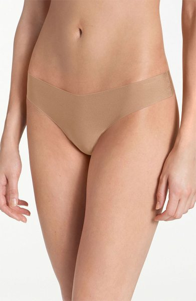Commando microfiber thong in beige - Commando's original raw-cut thong made from smooth...