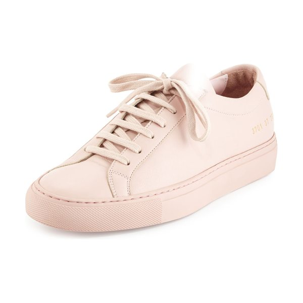 "Common Projects Achilles Leather Low-Top Sneaker in blush - Common Projects napa leather low-top sneaker. 1"" flat..."