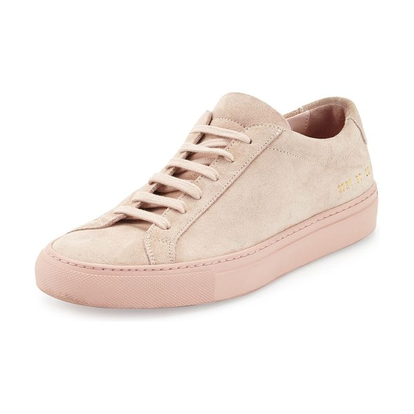 "Common Projects Achilles Suede Low-Top Sneaker in light pink - Common Projects Italian suede low-top sneaker. 1"" flat..."