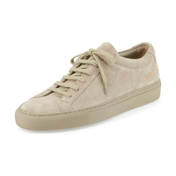 """Common Projects Achilles Suede Low-Top Sneaker in taupe - Common Projects Italian suede low-top sneaker. 1"""" flat..."""