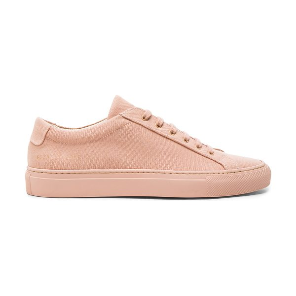 Common Projects Canvas Achilles Low in pink - Canvas upper with rubber sole.  Made in Italy.