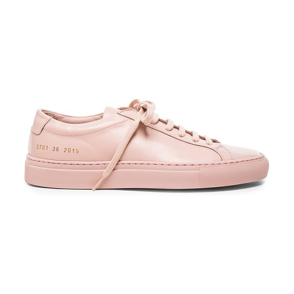 COMMON PROJECTS Original Leather Achilles Low in pink - Leather upper with rubber sole.  Made in Italy.