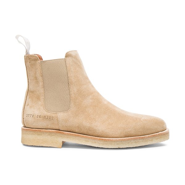 COMMON PROJECTS Suede Chelsea Boots in neutrals - Suede upper with rubber sole.  Made in Italy.  Shaft...