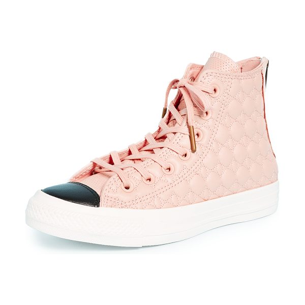 Converse chuck taylor all star back zip high top sneakers in dusk pink/egret/black - Quilted leather Converse high-top sneakers with a...