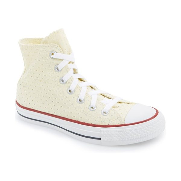 Converse chuck taylor all star eyelet perforated high top sneaker in natural - Eyelet lace perforations pretty up a classic high-top...