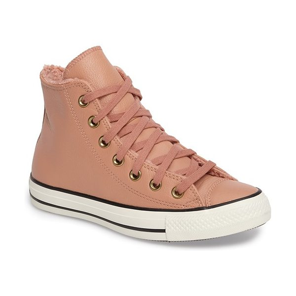 Converse chuck taylor all star faux fur high top sneaker in pink blush/ egret - This cold-weather-ready sneaker is crafted with smooth...