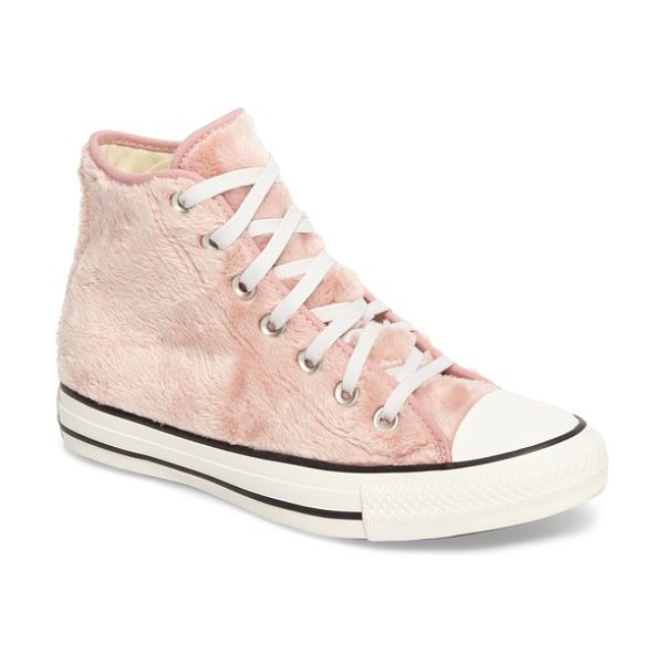 Converse chuck taylor all star faux fur high top sneakers in rose faux fur - Classic Chucks go trend-forward with a fuzzy faux fur...