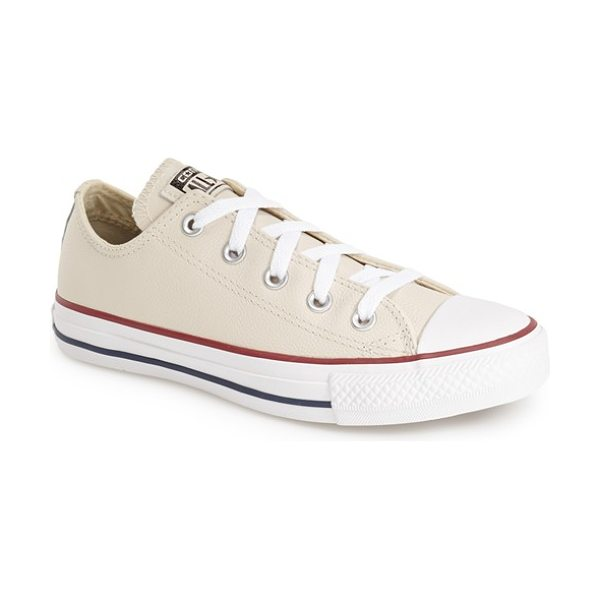 Converse chuck taylor all star leather low top sneaker in parchment leather - An iconic, richly colored low-top sneaker keeps the...