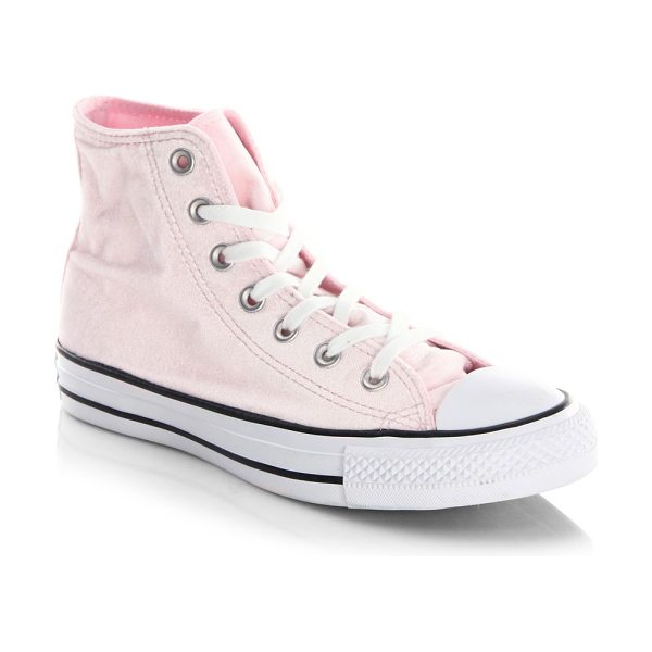 Converse classic velvet high-top sneakers in arctic pink - Velvet high-top sneakers with cotton lace and aluminum...