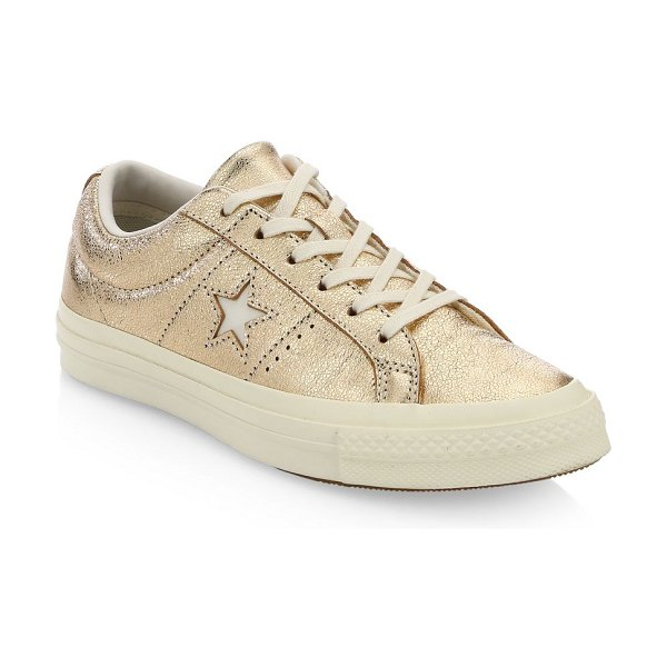 650c71114c8fe0 Converse one star ox leather sneakers in gold - Stylish leather sneakers  enhanced with metallic design
