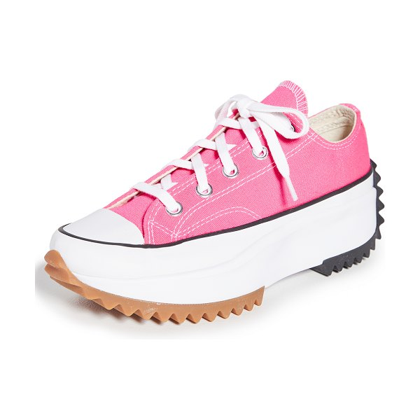 Converse run star hike ox platform sneakers in hyper pink/white/gum