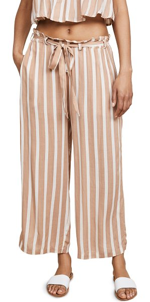 coolchange harlyn pants in cafe/pearl - Fabric: Soft voile Striped print Swim cover-up pants...